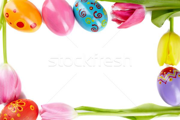 Wielkanoc karty ramki w górę tulipany Easter Eggs Zdjęcia stock © pressmaster