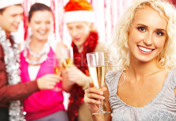 Stok fotoğraf: Kız · şampanya · portre · güzel · kadın · bakıyor