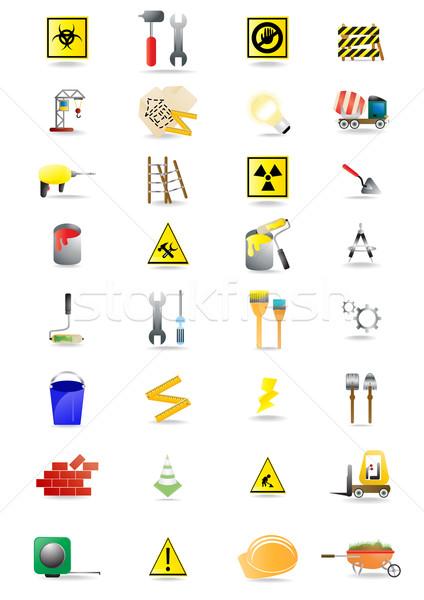 Stockfoto: Bouw · vector · iconen · tools · kan · zie