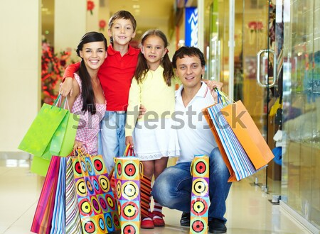 Alışveriş portre aile oturma bank depolamak Stok fotoğraf © pressmaster