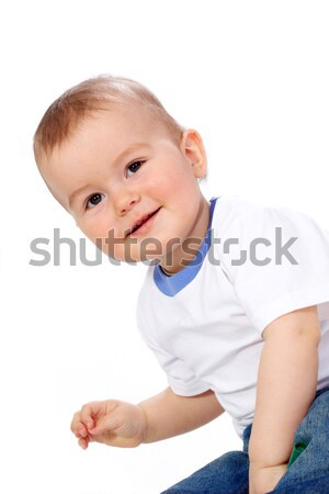 портрет счастливым Kid белый только Сток-фото © pressmaster