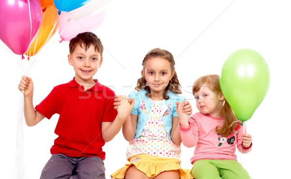 ストックフォト: 誕生日パーティー · 肖像 · 子供 · カラフル · 風船 · 幸せ