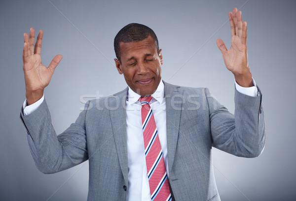 Blij zakenman foto verwarring grijs Stockfoto © pressmaster