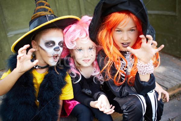 Halloween strach portret trzy dziewcząt patrząc Zdjęcia stock © pressmaster