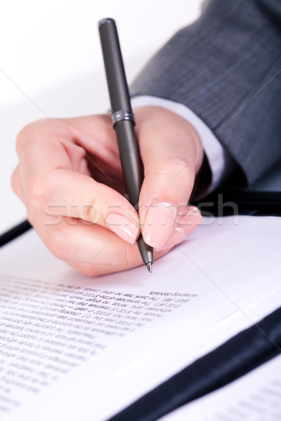 Készség kép női kezek tart toll Stock fotó © pressmaster