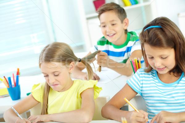 весело урок портрет школьницы рисунок месте Сток-фото © pressmaster