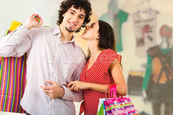 Foto stock: Casal · shopping · foto · mulher · jovem · algo