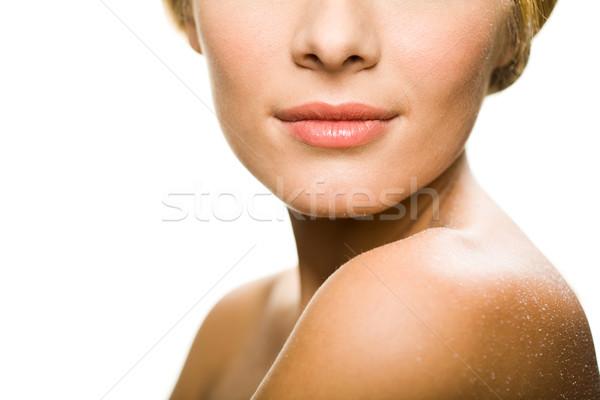 Higgadtság közelkép alsó csinos női arc Stock fotó © pressmaster
