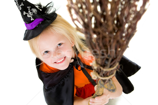 Foto stock: Menina · vassoura · acima · ângulo · halloween · traje