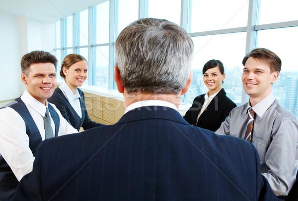 Сток-фото: презентация · Идея · вид · сзади · бизнесмен