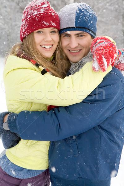 örömteli pár portré boldog átkarol tél Stock fotó © pressmaster
