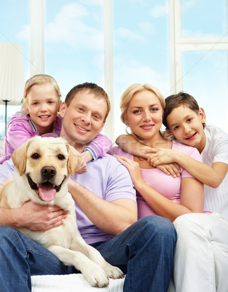 Stock photo: Family with dog