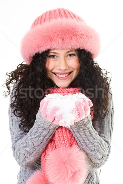 Jókedv portré derűs nő rózsaszín tél Stock fotó © pressmaster