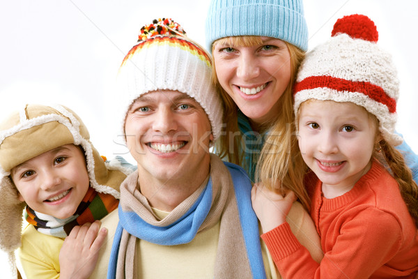 Сток-фото: Семейный · портрет · счастливая · семья · четыре · зима · одежду