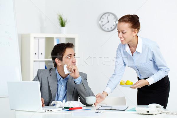 осторожный секретарь изображение больным бизнесмен глядя Сток-фото © pressmaster