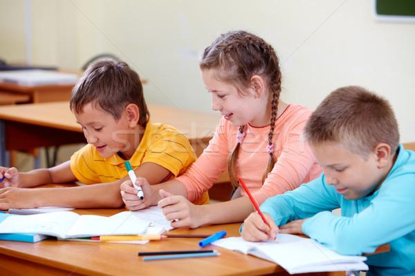 çizim sınıf arkadaşları portre kız okul eğitim Stok fotoğraf © pressmaster