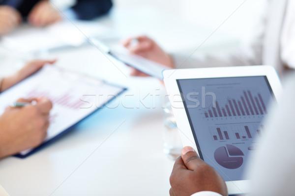 Touchpad közelkép üzletember kezek üzlet kéz Stock fotó © pressmaster