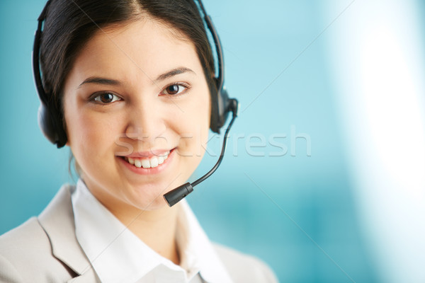 Recepciós portré visel headset lány technológia Stock fotó © pressmaster