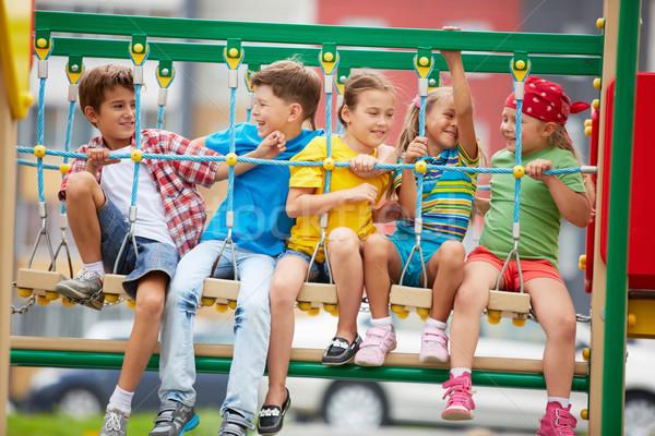ストックフォト: 子供 · 幸せ · 友達 · スイング · 遊び場