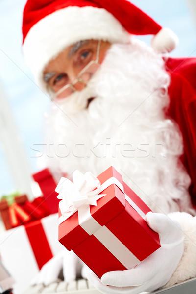 Santa with giftbox Stock photo © pressmaster