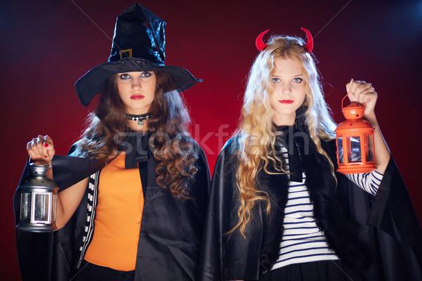 Escuro ocasião halloween meninas preto Foto stock © pressmaster