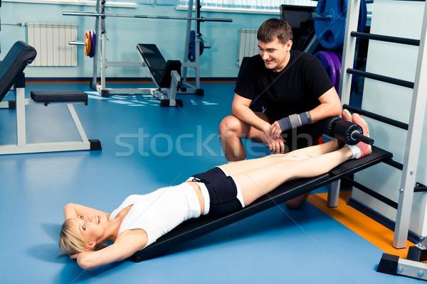 Készség kép fiatal nő kész testmozgás személyi edző Stock fotó © pressmaster
