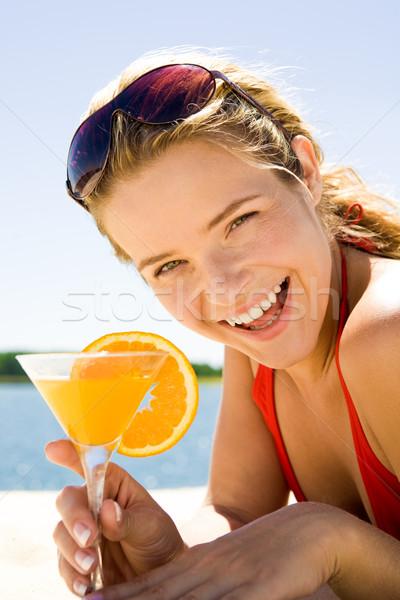 Foto stock: Mulher · coquetel · foto · bela · mulher · laranja