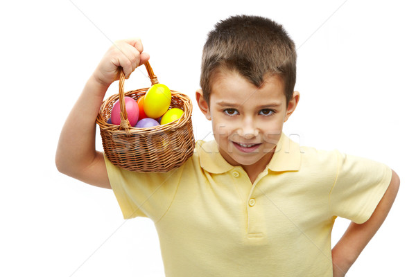 Boy with Easter eggs Stock photo © pressmaster