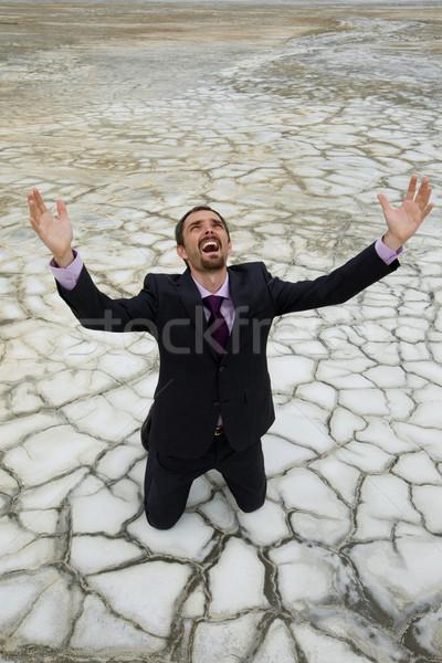 Man woestijn foto hulpeloos zakenman permanente Stockfoto © pressmaster