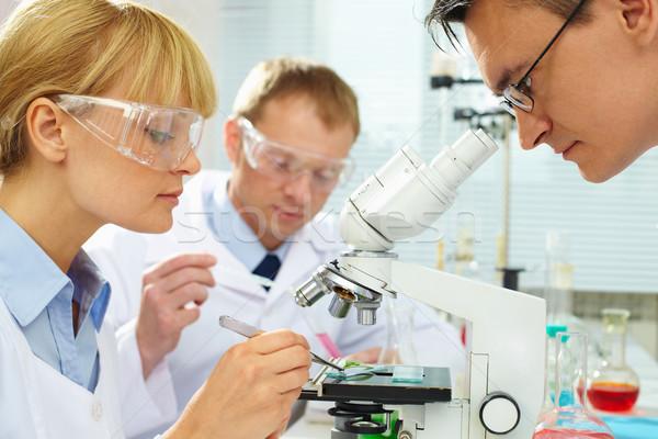 Trabajo grupo nuevos sustancia laboratorio mujer Foto stock © pressmaster