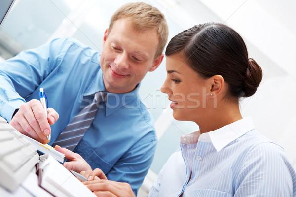 Stockfoto: Manager · tonen · plannen · vrouwelijke · business · man