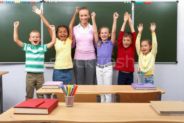 Stock foto: Gruppe · Porträt · line · cute · Schulkinder · Arme