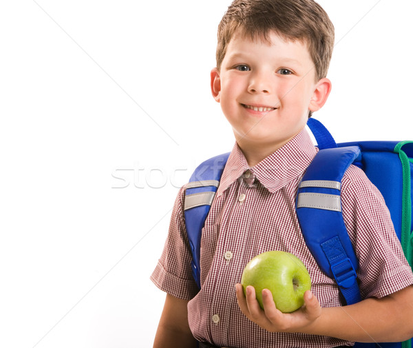 Stockfoto: Jongen · appel · portret · knap · groene · geïsoleerd