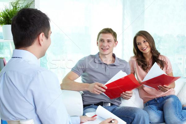 ストックフォト: 保険 · エージェント · 小さな · カップル · 男