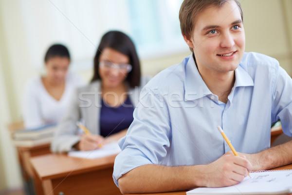 внимательный студент портрет красивый прослушивании учитель Сток-фото © pressmaster