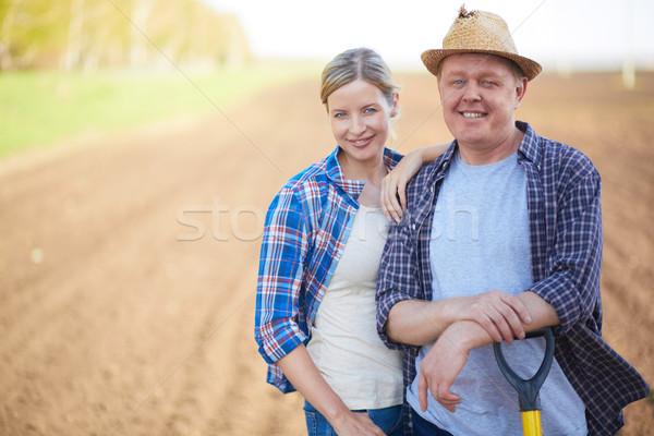 ストックフォト: 農民 · フィールド · 画像 · 2 · 幸せ · 背景