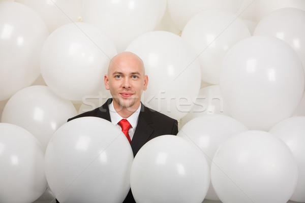 Foto stock: Sonriendo · hombre · globos · negocios · fiesta · cara