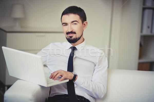 Smart użytkownik portret szykowny facet laptop Zdjęcia stock © pressmaster