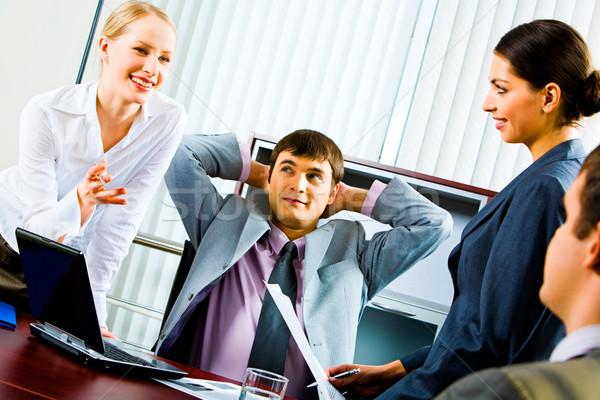 ストックフォト: 意見 · 肖像 · 笑みを浮かべて · 小さな · ビジネス · 女性