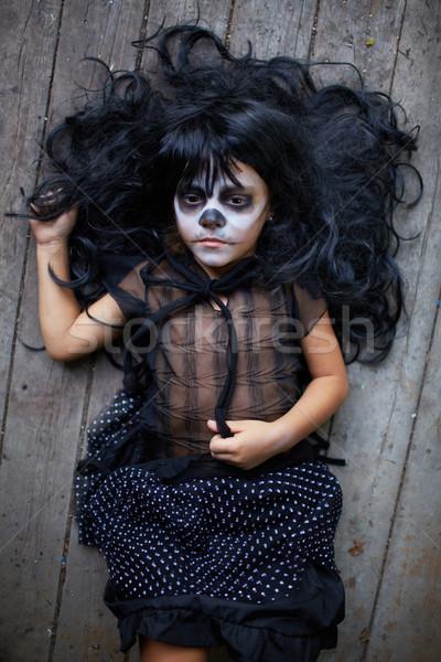 мрачный ребенка портрет Хэллоуин девушки черный Сток-фото © pressmaster