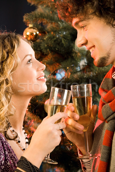 Portrait of amorous couple holding the glasses of champagne at christmas Stock photo © pressmaster