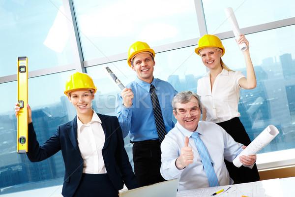 Foto stock: Feliz · trabalhadores · retrato · quatro · documentos