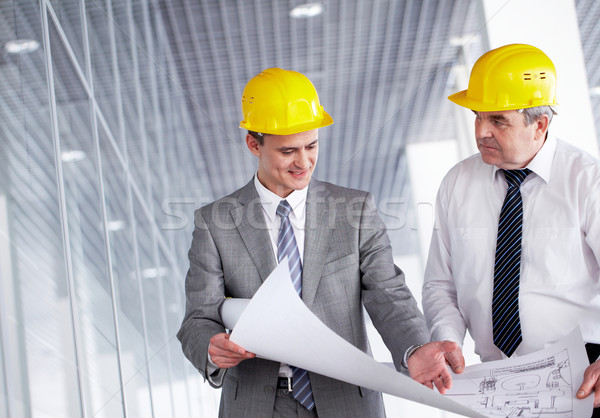 Stock photo: Discussing blueprint