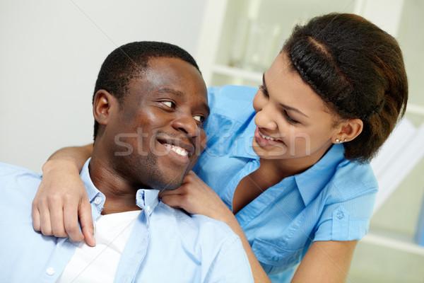 Photo stock: Africaine · couple · image · jeunes · regarder · une