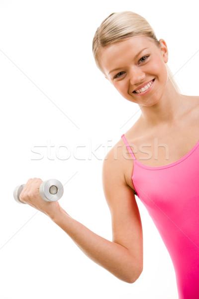 Photo stock: Sport · pratique · image · femme · souriante · barbell
