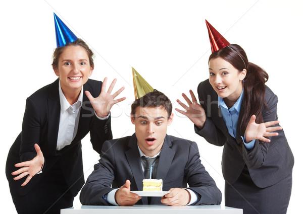 Urodziny portret młodych biznesmen urodziny cap Zdjęcia stock © pressmaster