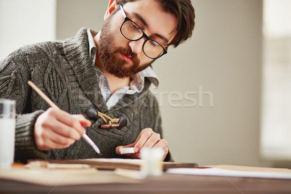 Man schilderij afbeelding bebaarde jonge man student Stockfoto © pressmaster