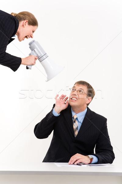 Foto stock: Escuchar · retrato · empresario · sesión · escritorio · dama