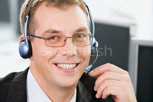 Gülen telefon operatör portre gözlük kulaklık Stok fotoğraf © pressmaster