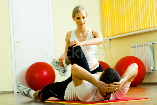 Сток-фото: тренировки · фото · спортсмен · осуществлять · довольно · инструктор